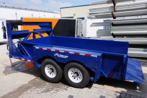 End of Gooseneck Tandem Axel Airtow Drop-Deck Trailer for rent in Iowa
