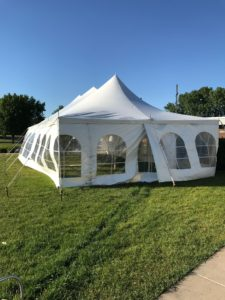End of the 20' x 40' rope and pole tent with French Sidewalls