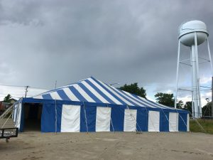 Fireworks stand for Bellino Fireworks in Cedar Rapids 60' x 60' rope and pole tent