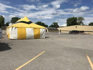 Fireworks tent for Ka-Boomers Fireworks at Maple Lanes Bowling Center in Waterloo, Iowa