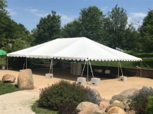 Harvest Preserve wedding with a 30' x 45' frame tent in Iowa City, IA with Blocks