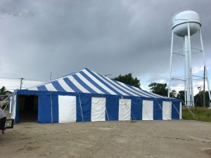 Large Fireworks stand for Bellino Fireworks 60' x 60' rope and pole tent in Cedar Rapids, IA