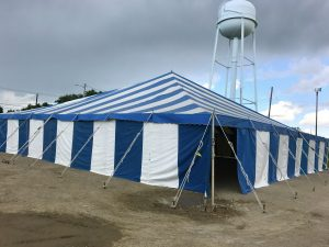 Large Fireworks stand for Bellino Fireworks 60' x 60' rope and pole tent in Cedar Rapids, Iowa