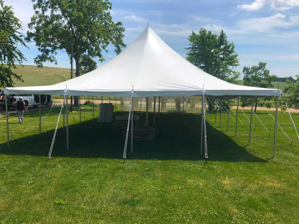 Looking at the end of our 30' x 60' rope and pole wedding tent in De Witt, Iowa