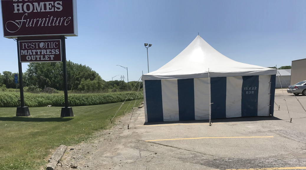 Newton, Iowa Firework Stand Tent by Big Ten Rentals