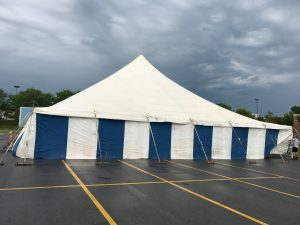 Other side of the 60' x 60' translucent rope and pole tent for fireworks at the Ashley Home Store in Davenport, Iowa