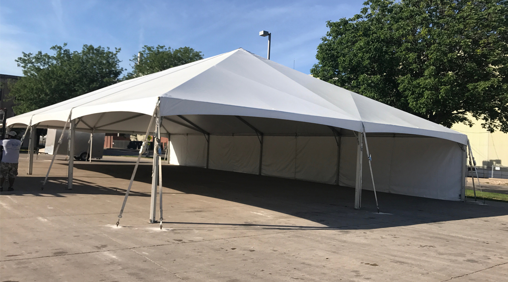 Our 40' x 80' Hybrid tent provides extra room needed for a lunch meeting and corporate events