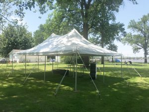 Outdoor Graduation party under 20' x 30' rope and pole tent in East Moline, IL