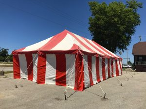 Outside of 20' x 40' rope and pole Fireworks tent for Ka-Boomers Fireworks in Newton, Iowa