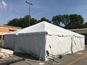 Outside of 30' x 30' frame tent at Harbor Fraight Tools in Sioux City, Iowa