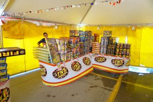 Packages of Fireworks under the TNT tent at Walmart in Iowa City
