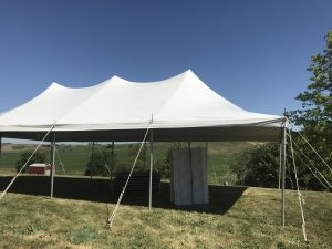 Side of 20' x 40' rope and pole tent for a Home Outdoor Wedding Reception Tent in Grinnell, Iowa