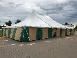 Side of 40' x 60' rope and pole tent for Fireworks at Fareway Grocery in Bettendorf, IA