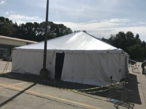 Sidewalls on 30' x 30' frame tent at Harbor Fraight Tools in Sioux City, Iowa