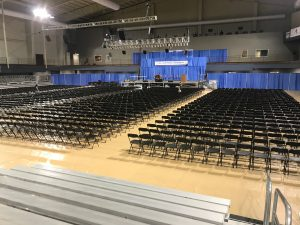 Stage, Chairs, Bleachers and more setup for 2017 Graduation at William Penn University in Oskaloosa, IA