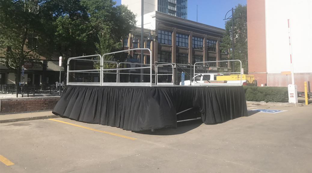 Stage Rental in Iowa. This stage is 16' x 16' stage on 48 legs