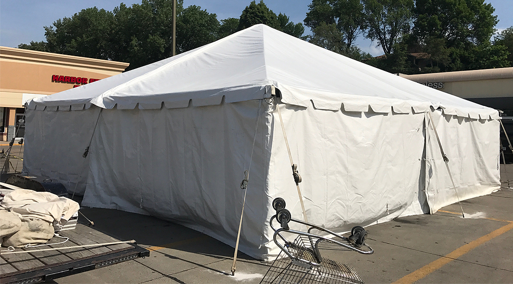 Tent Sale at Harbor Fraight Tools in Sioux City, Iowa with 30' x 30' frame tent