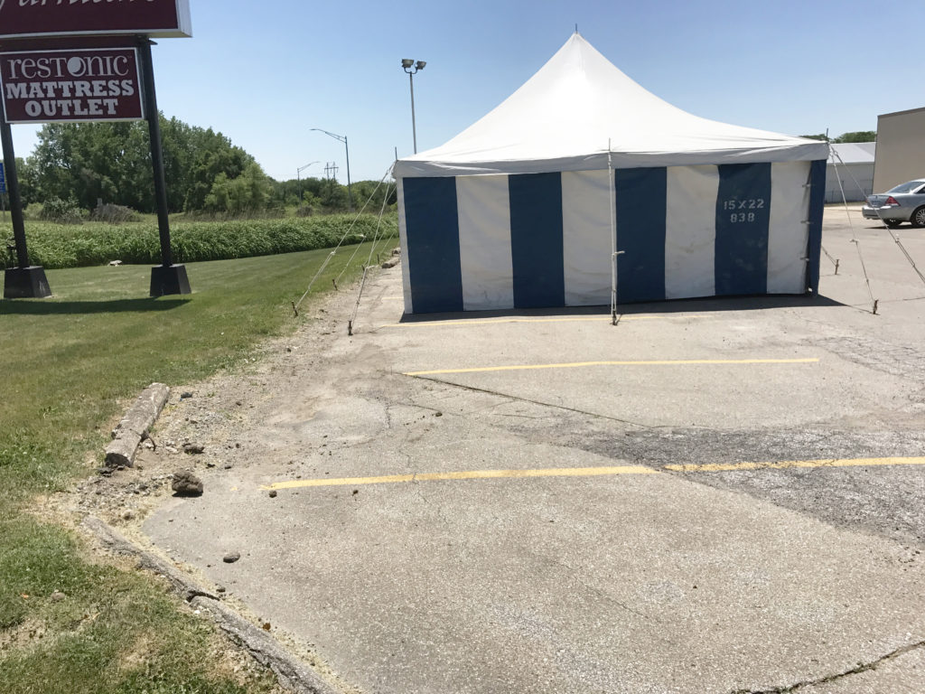 iowa firework stand tent setup in newton iowa by big ten rentals