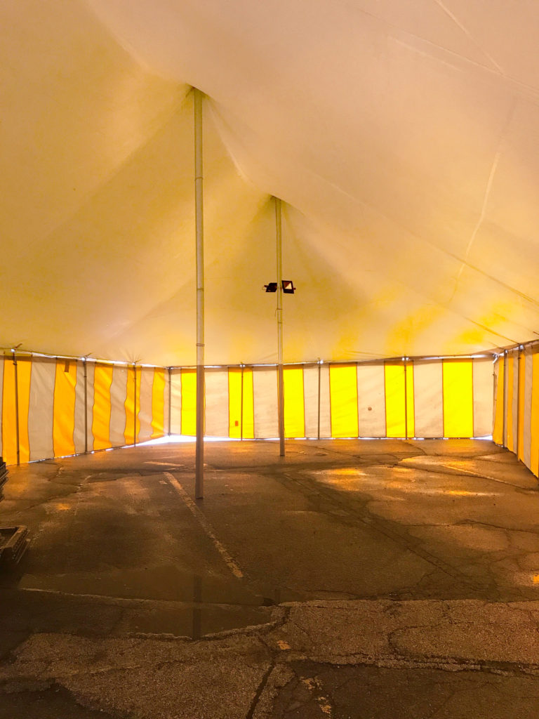 Under a 30' x 60' rope and pole tent for Galaxy Fireworks 3801 1st Ave SE, Cedar Rapids, Iowa