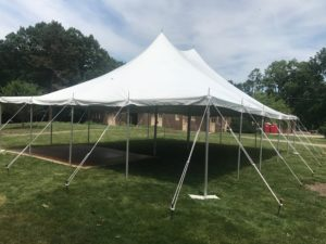 View of the 30' x 40' rope and pole tent for an outdoor Wedding in Iowa