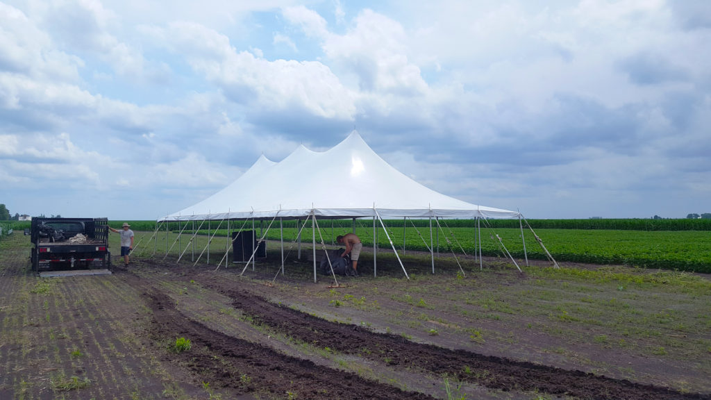 30' x 60' rope and pole tent for WinField® United in Washington, Iowa