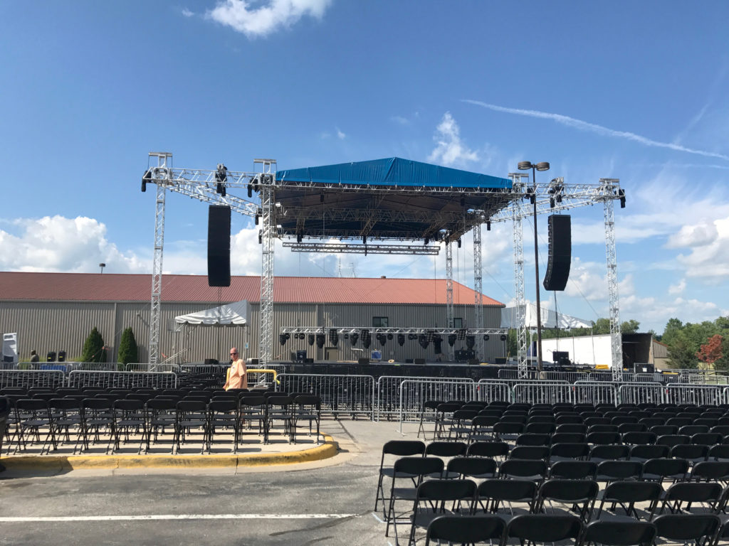 Black folding chairs for concert at Riverside Casino & Golf Resort in Riverside, IA