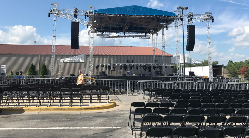 Black Folding Chairs For Concert At Riverside Casino