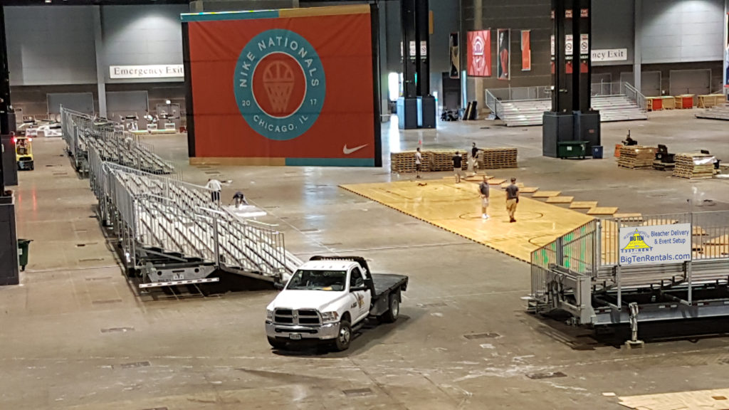 Bleachers set up by Big Ten Rentals for the Nike Nationals (International Sport Event)