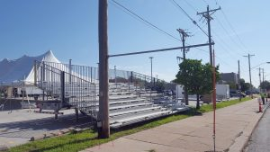 Bleachers set up for the 2017 Quad-City Times Bix 7 in Davenport, Iowa