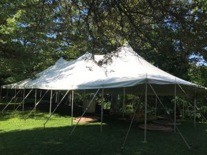 Corner of the 30' x 60' rope and pole wedding tent in Mount Vernon, IA