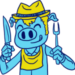 Drawing of a smiling blue pig with yellow hat and bib holding a fork and knife ready to eat at Blues & BBQ event.