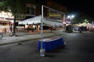 Information tent at the 2017 Iowa City Jazz Festival