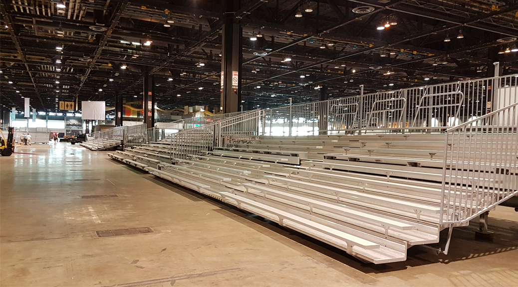 Multiple bleachers setup for an event in Illinois