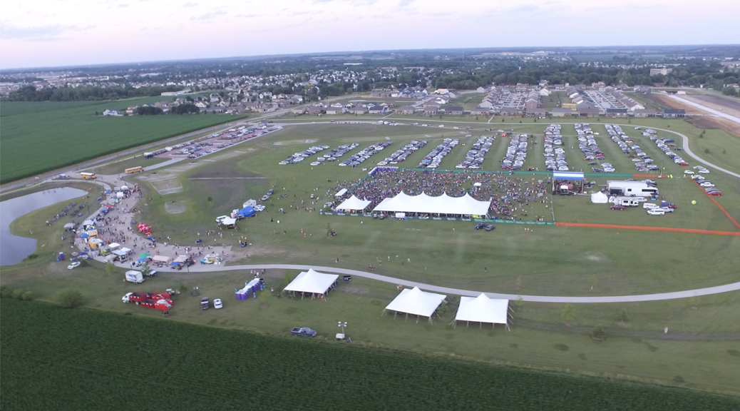 Aerial view of the North Liberty Jazz Fest at night