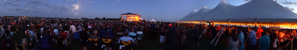 Panoramic of People at Blues & BBQ in North Libery, Iowa