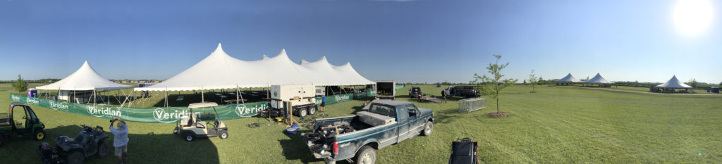 Panoramic view of the tents set up at the North Liberty Blues & BBQ festival