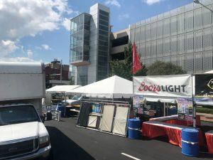Setup of Downtown Street Fest in Davenport, Iowa