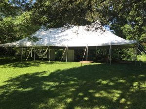 Side of the 30' x 60' rope and pole wedding tent in Mount Vernon, IA