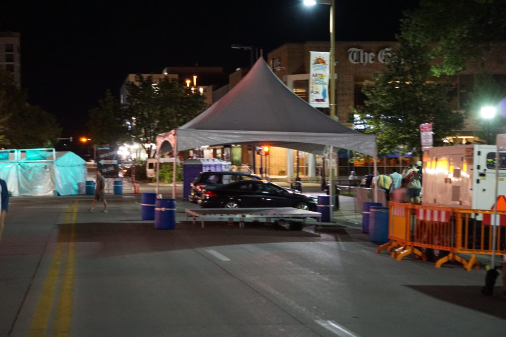 Small Stage And Tent At The 2017 Iowa City Jazz Festival