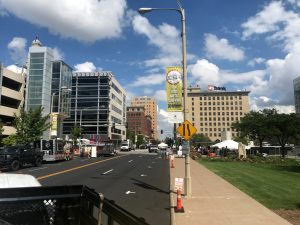 Streets and setup of Downtown Street Fest in Davenport, Iowa