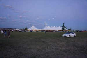 Tents at night at Blues and BBQ in North Libery, Iowa