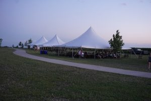 Three 40′ x 40 Elite rope and pole tents at Blues and BBQ in North Libery, Iowa