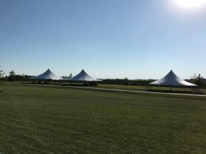 Three 40' x 40' rope and pole tent at the North Liberty Blues & BBQ festival at Centennial Park in North Liberty, Iowa