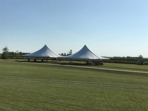 Two 40' x 40' rope and pole tent at the North Liberty Blues & BBQ festival