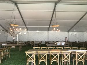 View under the side of a 60' x 66' clearspan Losberger-made tent