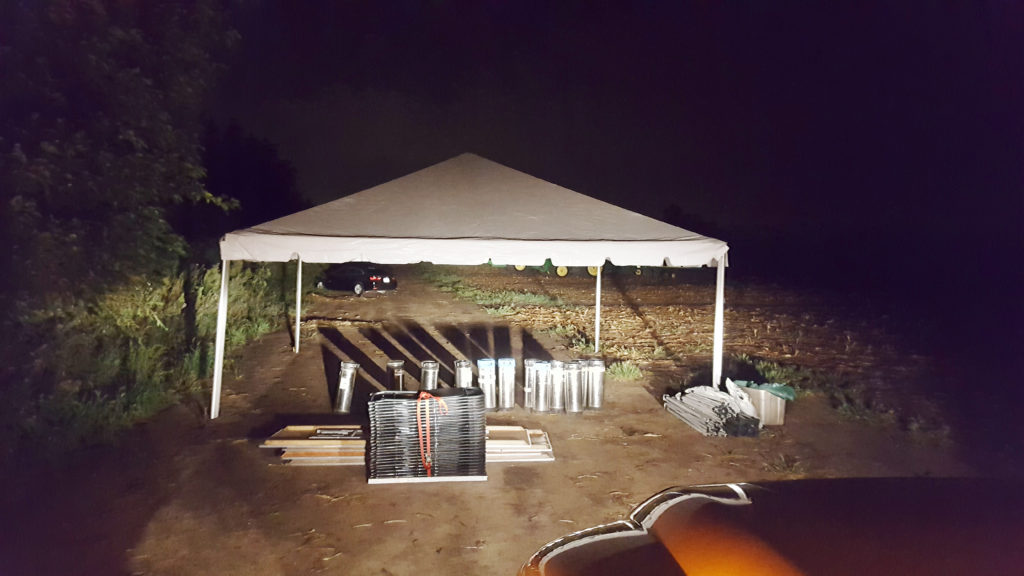 20' x 20' frame tent for a John Deere corporate event in Grimes, Iowa set up at 2 am in the morning