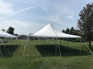 20' x 40' rope and pole tent for block party in Iowa City, IA