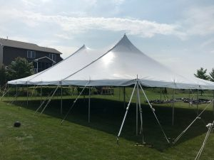 40' x 60' rope and pole tent for block party in Iowa City, IA