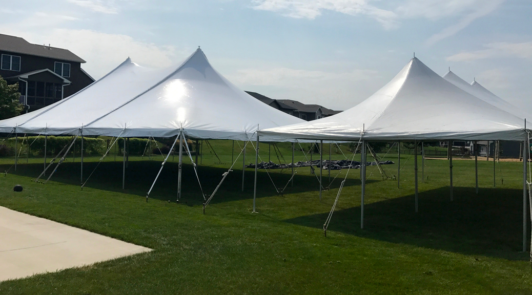 Block Party Setup with rope and pole event tents in Iowa City, IA (header)