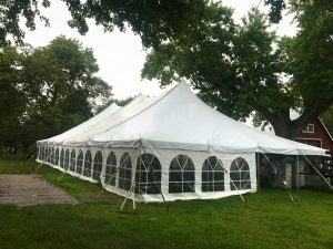 Rope and Pole wedding tent in Carroll, Iowa 40' x 80'